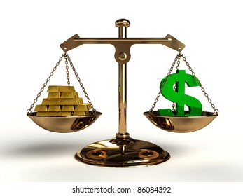 The value of Money. On a golden balance, are compared in a green dollar symbol and a lot of gold bullion, computer-generated conceptual image.
