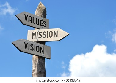 """Values, mission, vision"" - wooden signpost, cloudy sky"