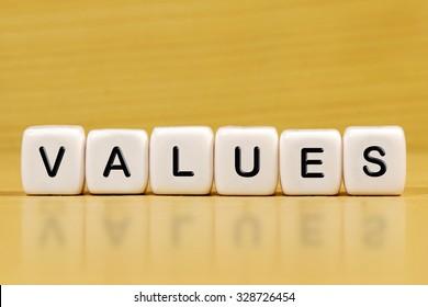 VALUES word on blocks