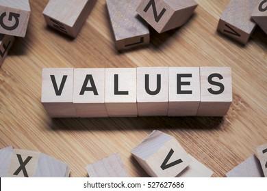 Values Word Written In Wooden Cube