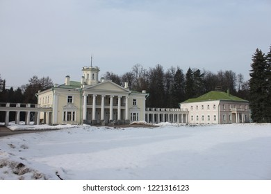 VALUEVO, MOSCOW OBLAST / RUSSIA - FEBRUARY 23 2017: The manor house in the old Valuevo estate during winter