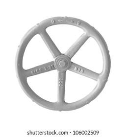 Valve control wheel isolated on white background