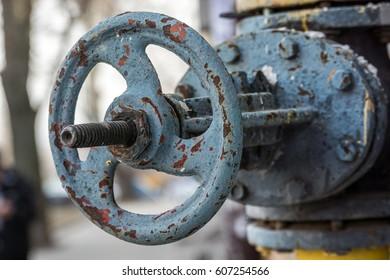 Valve of gas equipment. Close up