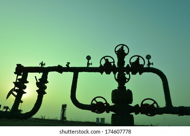 Valve and pipeline, close-up, industrial images