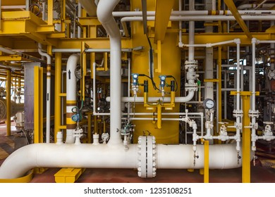 Valve, pressure Transmitter, temp transmitter, pressure gauge and Process Pipeline on Offshore Oil and Gas