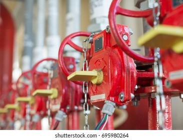 The valve of system Industrial of  fire extinguishing. Selective focus.