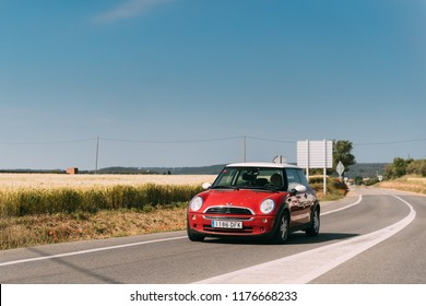 Valveralla, Spain - May 18, 2018: Red Colour Mini One D  Driving In Motorway Road.