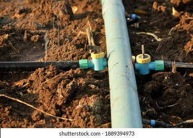 Valves and hoses for switching on and off spray irrigation systems for farm crops. With the technology of irrigation in the agricultural plots of farmers.
