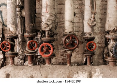Valves of old steam at factory