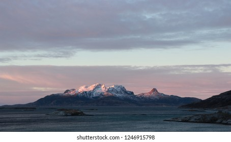 VALVIKA, NORDLAND COUNTY / NORWAY - DECEMBER 01 2018: A view on the Landegode island in Northern Norway near Bodo