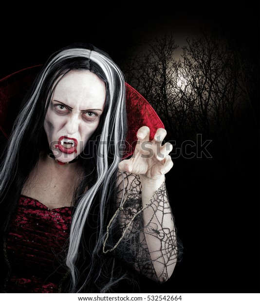 Vampire Halloween Woman Portrait Vampire Girl Stock Photo