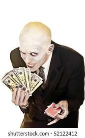 Vampire inviting public  to gamble with cash in one hand and playing cards in other