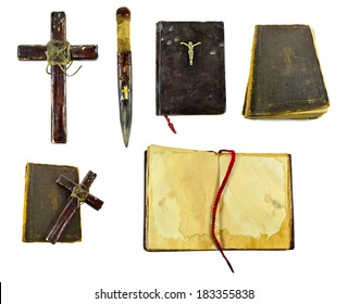 Vampire killer objects isolated: cross, wooden stake, the Bible
