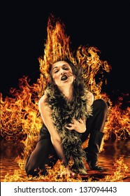Vampire like woman surrounded by fire