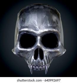 The vampire metal skull on dark background. 3D illustration.