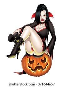 Vampire Pinup on Pumpkin