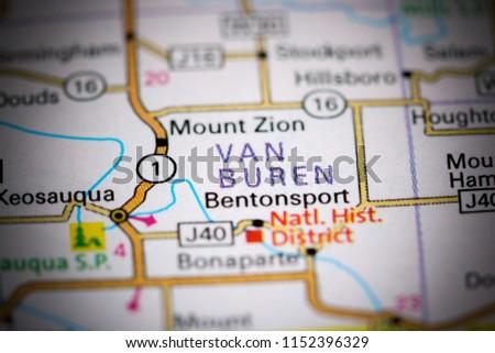 Bentonsport Iowa Map.Van Buren Iowa Usa On Map Stock Photo Edit Now 1152396329