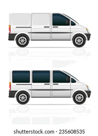 van for the carriage of cargo and passengers illustration isolated on gray background