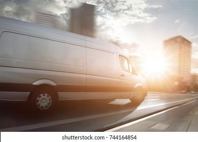 Van in a city