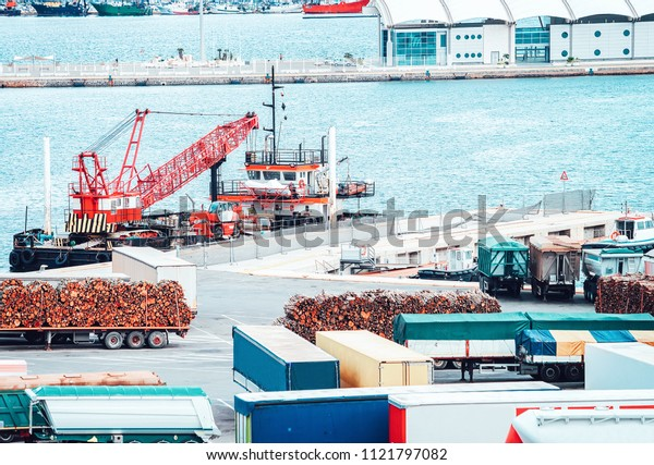 Van containers and Cargo Shipping in shipard and port of Cagliari on Sardinia Island, Italy