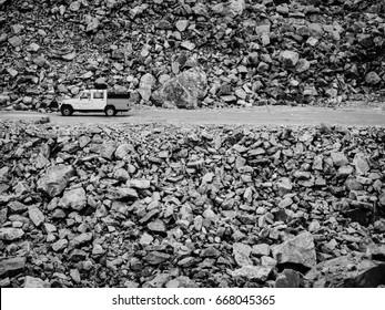 van driving in Rugged rock road in Leh Ladakh, india