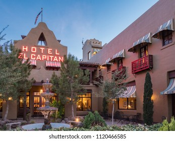 Van Horn, TX/USA - 18th March 2018: the neon sign of El Capitan Hotel glows in the evening.