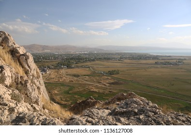 Van Lake and city of Van view from Van Castle in Eastern Anatolia, Turkey.