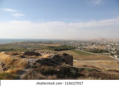 Van Lake and city of Van view from Van Castle in Eastern Anatolia, Turkey.