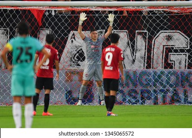 And Van Lam (GK)of SCG Muangthong United in action during The Football Thai League match between SCG Muangthong United and PT Prachuap F.C.at SCG Stadium on February24,2019 in Nonthaburi, Thailand