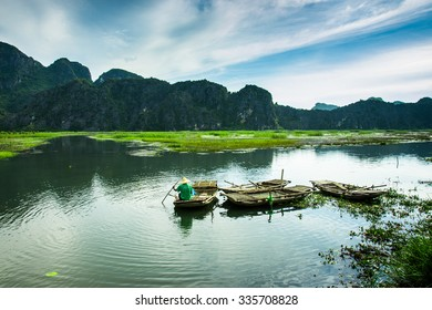 Van Long lake at September 20, 2015 in Ninh Binh, Vietnam.
