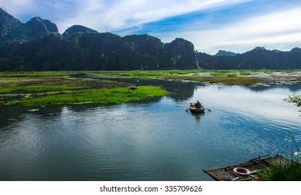 Van Long lake at September 20, 2015 in Ninh Binh, Vietnam