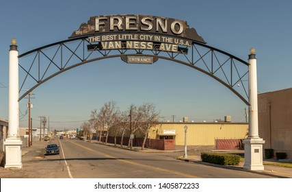 """Van Ness Avenue Entrance to Downtown Fresno, California, USA. """"The Best Little City in the U.S.A."""""""
