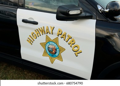 Van Nuys, CA / USA - October 23, 2016: A police car bearing the California Highway Patrol logo is shown on display at a community resource fair.