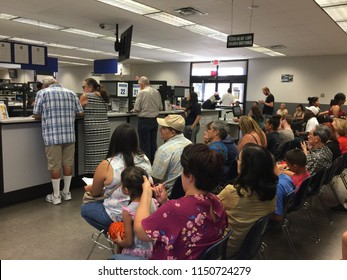 Van Nuys, California, USA, August 6, 2018: The California Department of Motor Vehicles office (DMV)