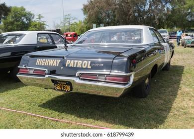 Van Nuys, USA - April 9, 2017: Dodge California Highway Patrol Car on display during The Spring Fling 31 at the Woodley Park.