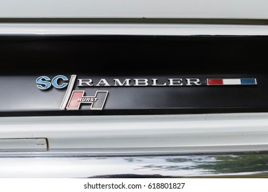 Van Nuys, USA - April 9, 2017: AMC Hurst SC Rambler emblem on display during The Spring Fling 31 at the Woodley Park.