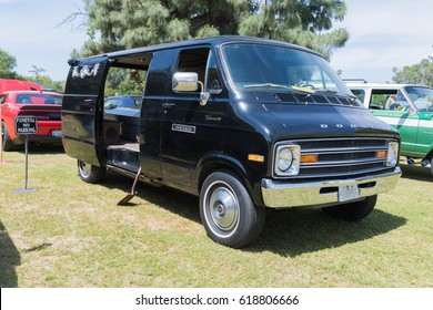 Van Nuys, USA - April 9, 2017: Dodge Tradesman  200 on display during The Spring Fling 31 at the Woodley Park.