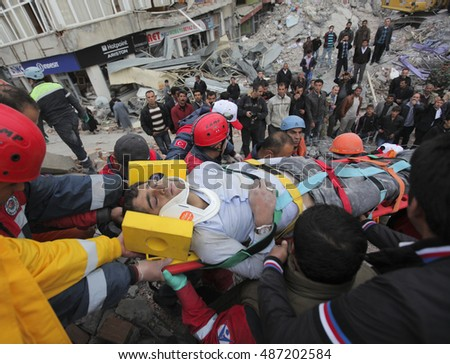 VAN, TURKEY - NOV 10: After the earthquake in Van, rescue teams are searching for earthquake victims with the help of rescue dogs on November 10, 2011 in Van Turkey.