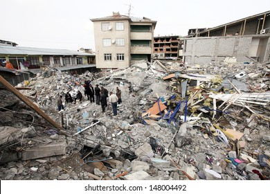 VAN, TURKEY - OCTOBER 25: A building ruined during the earthquake of Van-Ercis on October 25, 2011 in Van, Turkey. It is 604 killed and 4152 injured in Van-Ercis Earthquake.