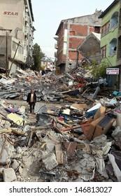 VAN, TURKEY - OCTOBER 25: Buildings ruined during the earthquake of Van-Ercis on October 25, 2011 in Van, Turkey. It is 604 killed and 4152 injured in Van-Ercis Earthquake.