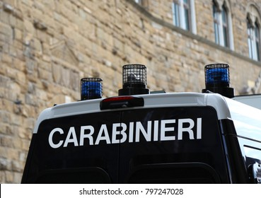 Van vehicle of italian police force in Italy with text CARABINIERI