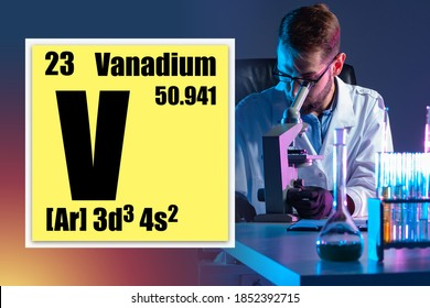Vanadium chemical element. Vanadium logo in a yellow box. Data on vanadium against the background of the chemist work. Man studies a substance in a chemical laboratory. Elements of the periodic table.