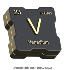Vanadium element symbol from periodic table on futuristic black icon isolated on white background 3D render