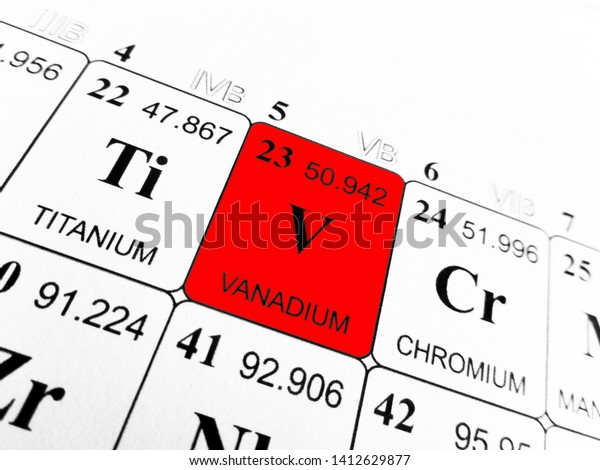 Vanadium on the periodic table of the elements