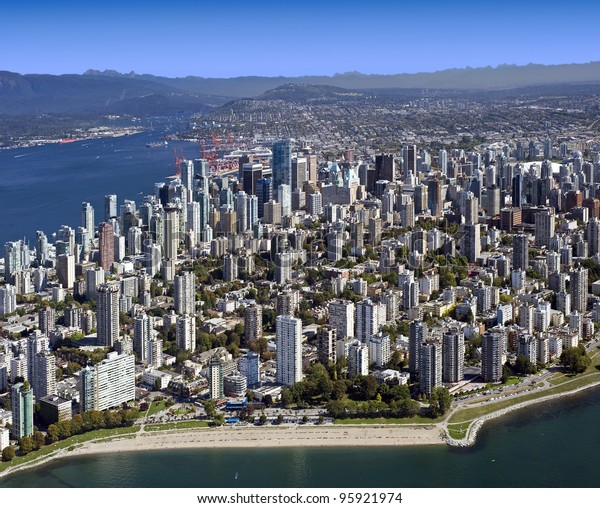 Vancouver - Aerial Metro Vancouver, BC, West End and downtown, British Columbia, Canada