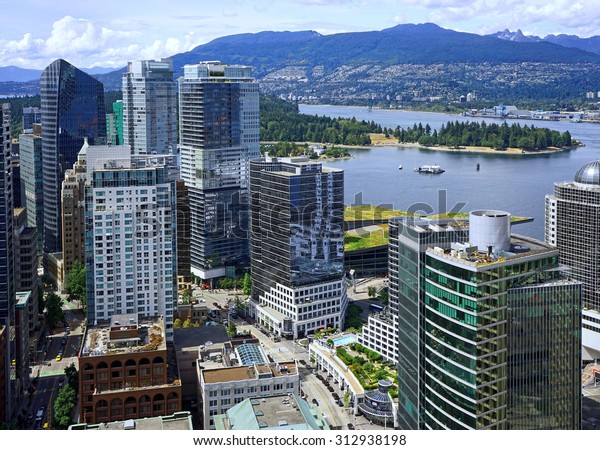 Vancouver, aerial view of downtown skyline