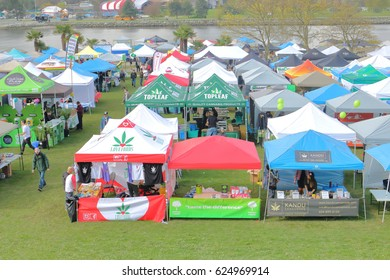 VANCOUVER - April 20,2017: The colorful booths where marijuana and its' many by-products are sold during the annual 4-20 event in Vancouver, Canada on April 20, 2017.