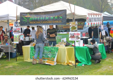 VANCOUVER - April 20,2017: A colorful outdoor display where marijuana products are sold during the annual 4-20 event in Vancouver, Canada on April 20, 2017.