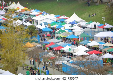 VANCOUVER - April 20,2017: The many tents and displays where marijuana is sold during the annual 4-20 event in Vancouver, Canada on April 20, 2017.