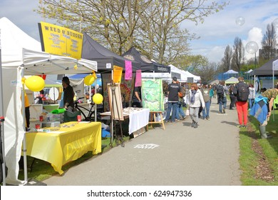 VANCOUVER - April 20,2017: People freely and legally shop for products related to marijuana during the annual 4-20 event in Vancouver, Canada on April 20, 2017.